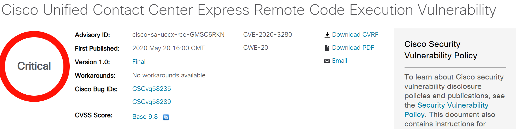 CVE-2020-3280: Cisco Unified Contact Center Express Remote Code Execution Vulnerability Alert