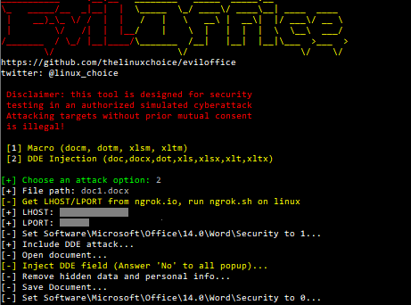 Eviloffice - Inject Macro And DDE Code Into Excel And Word Documents (Reverse Shell)