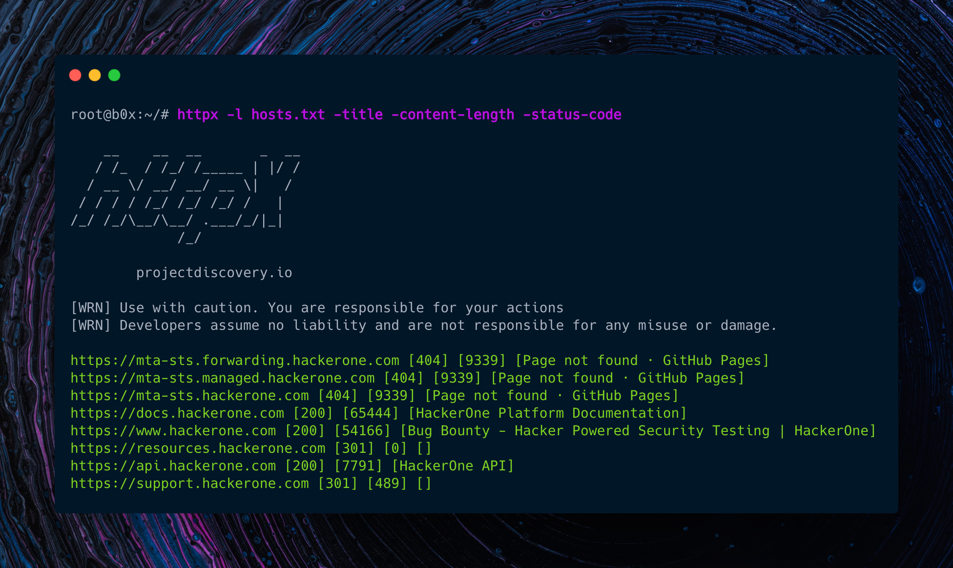 httpx: fast and multi-purpose HTTP toolkit