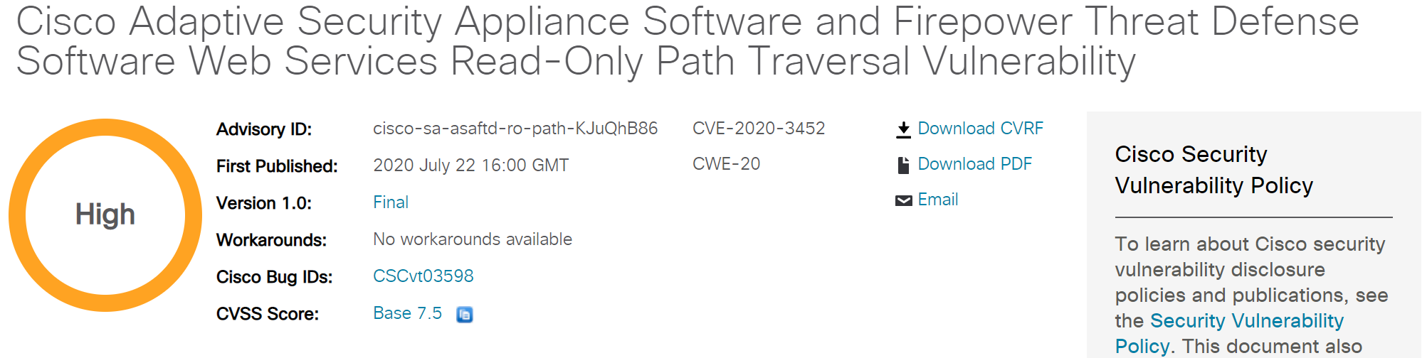 CVE-2020-3452: Cisco ASA/FTD Arbitrary File Reading Vulnerability Alert