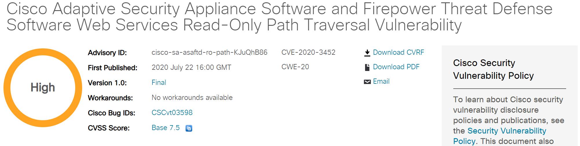 CVE-2020-3452: Cisco ASA/FTD Arbitrary File Reading Vulnerability Alert