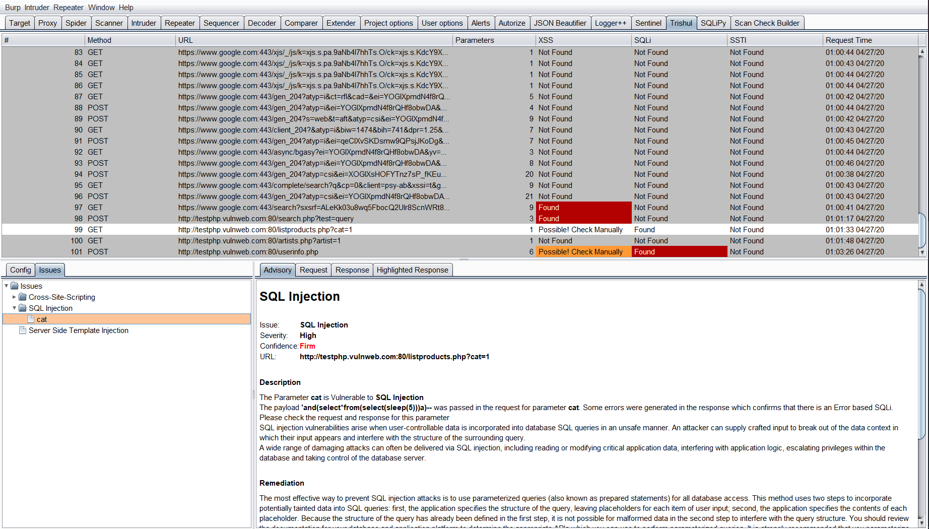 Trishul: Burp Extension for Automated Vulnerability Discovery