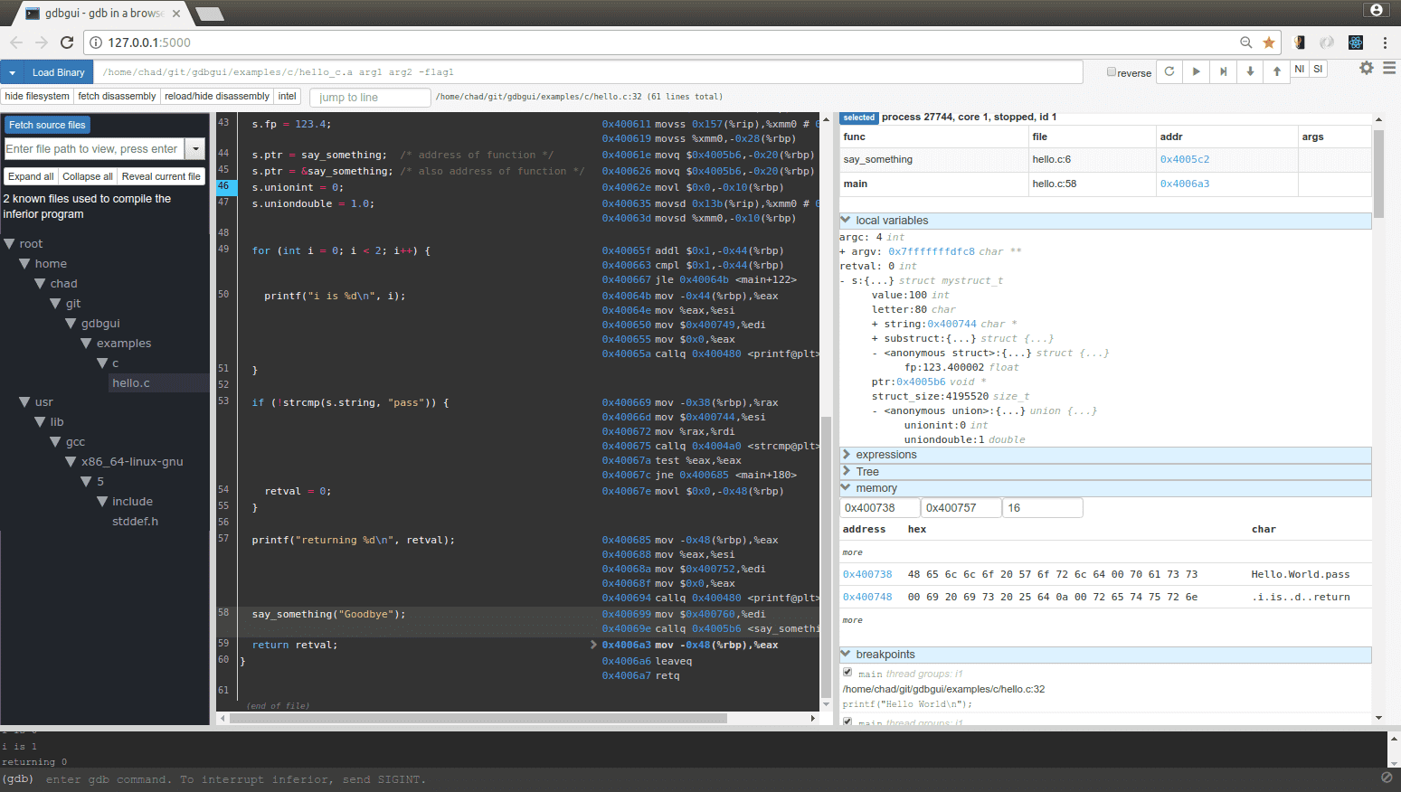gdbgui v0.13.2.1 released: Browser-based frontend to gnu debugger