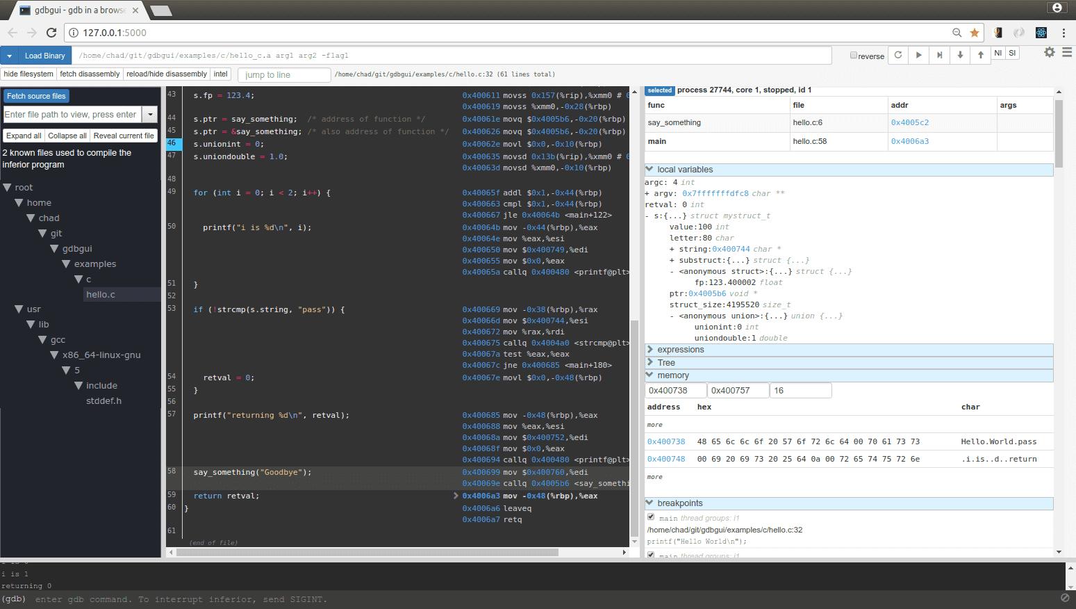 gdbgui v0.13.2.1 released: Browser-based frontend to gnu debugger