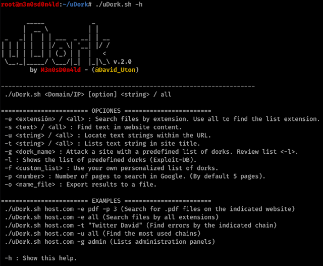 uDork – Tool That Uses Advanced Google Search Techniques To Obtain Sensitive Information In Files Or Directories, Find IoT Devices, Detect Versions Of Web Applications, And So On
