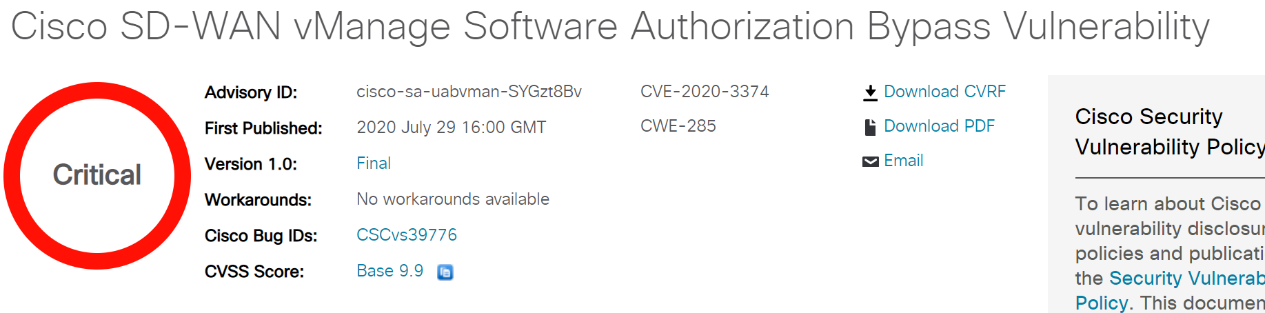 CVE-2020-3374, CVE-2020-3375: CISCO SD-WAN High-Risk Vulnerabilities Alert