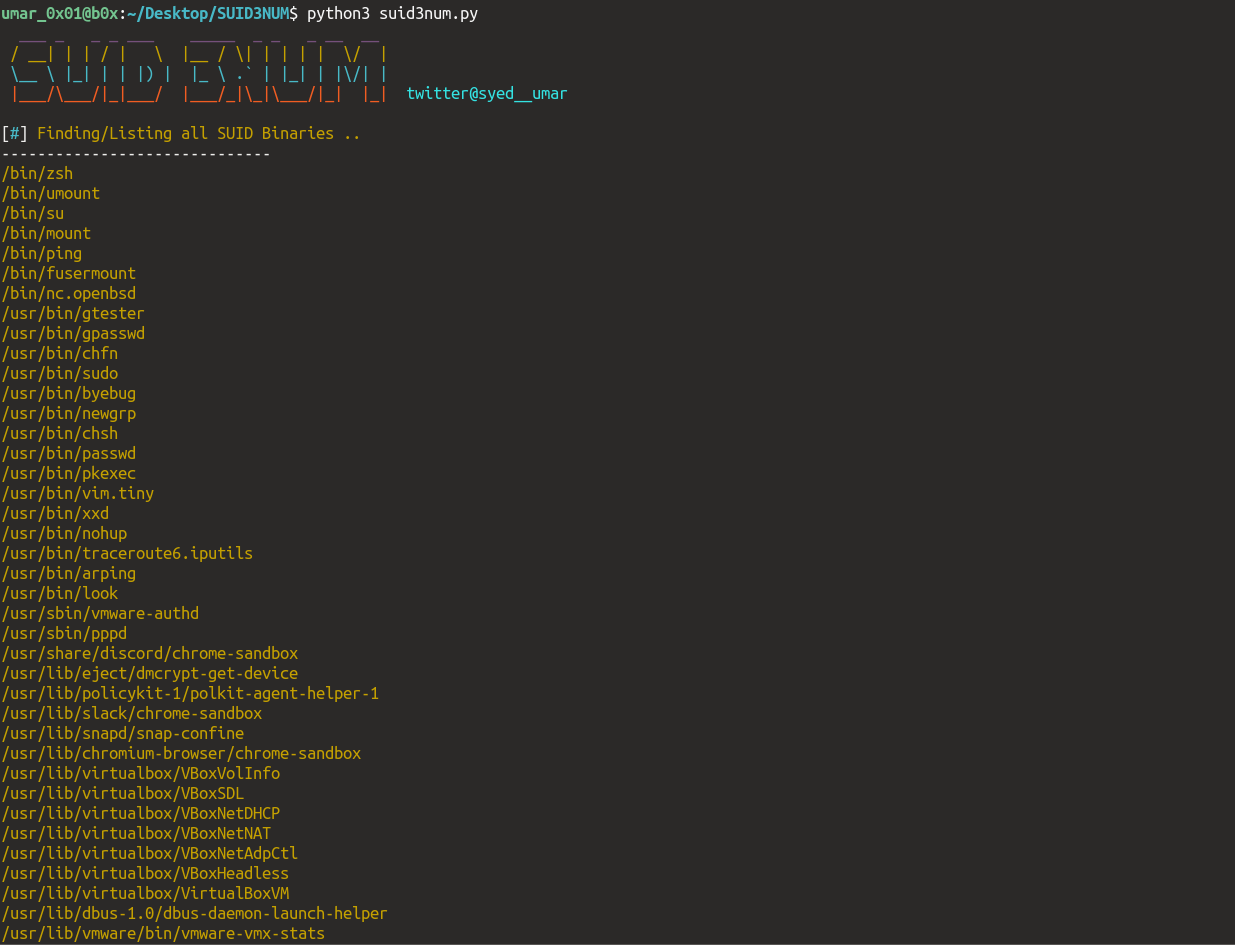 SUID3NUM: find out all SUID binaries in machines/CTFs