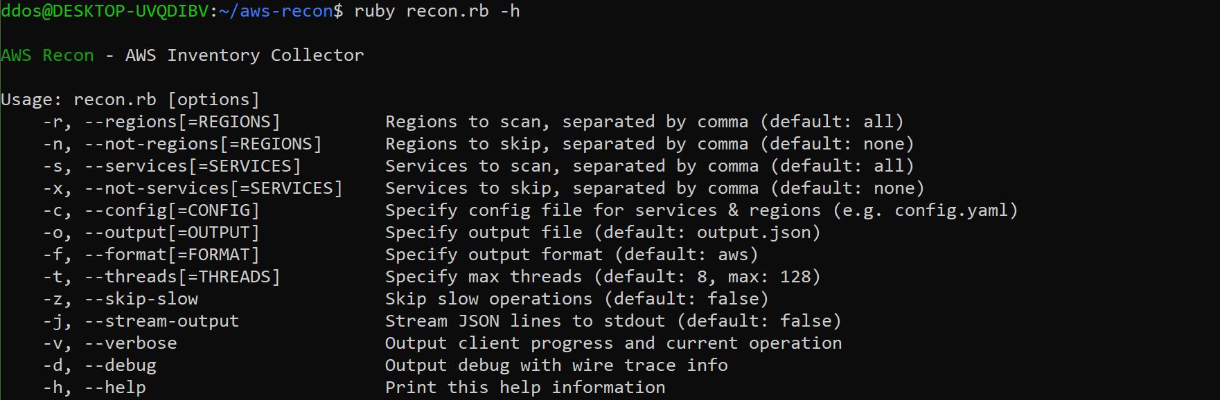 aws recon: multi-threaded AWS inventory collection tool