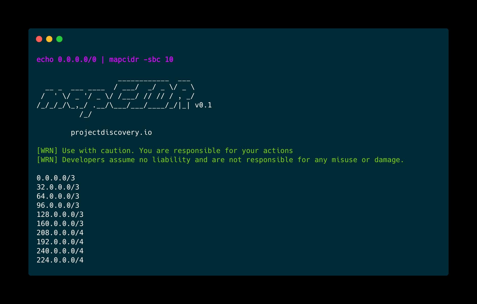 mapcidr: given subnet/CIDR ranges