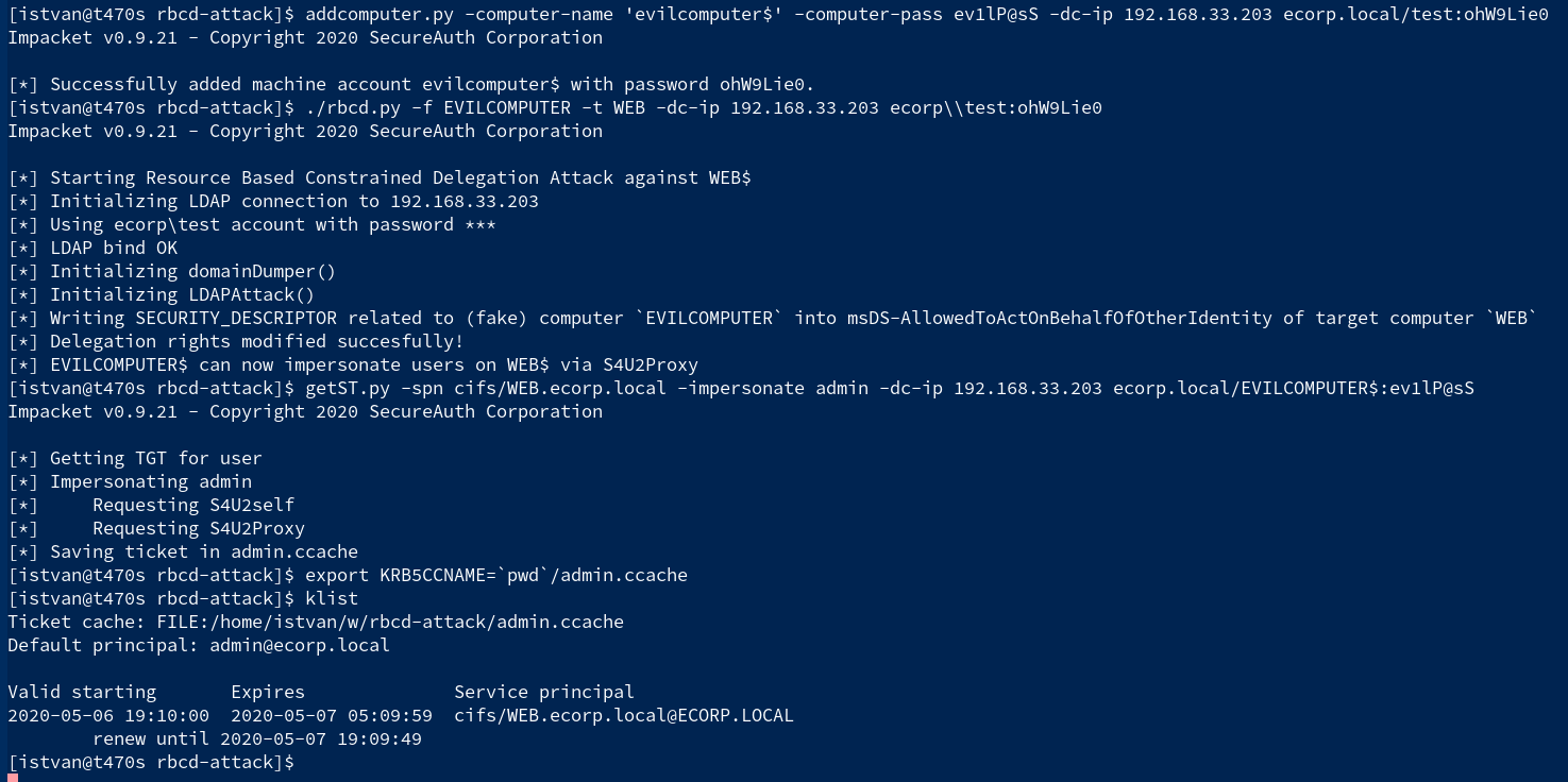 rbcd-attack: Kerberos Resource-Based Constrained Delegation Attack