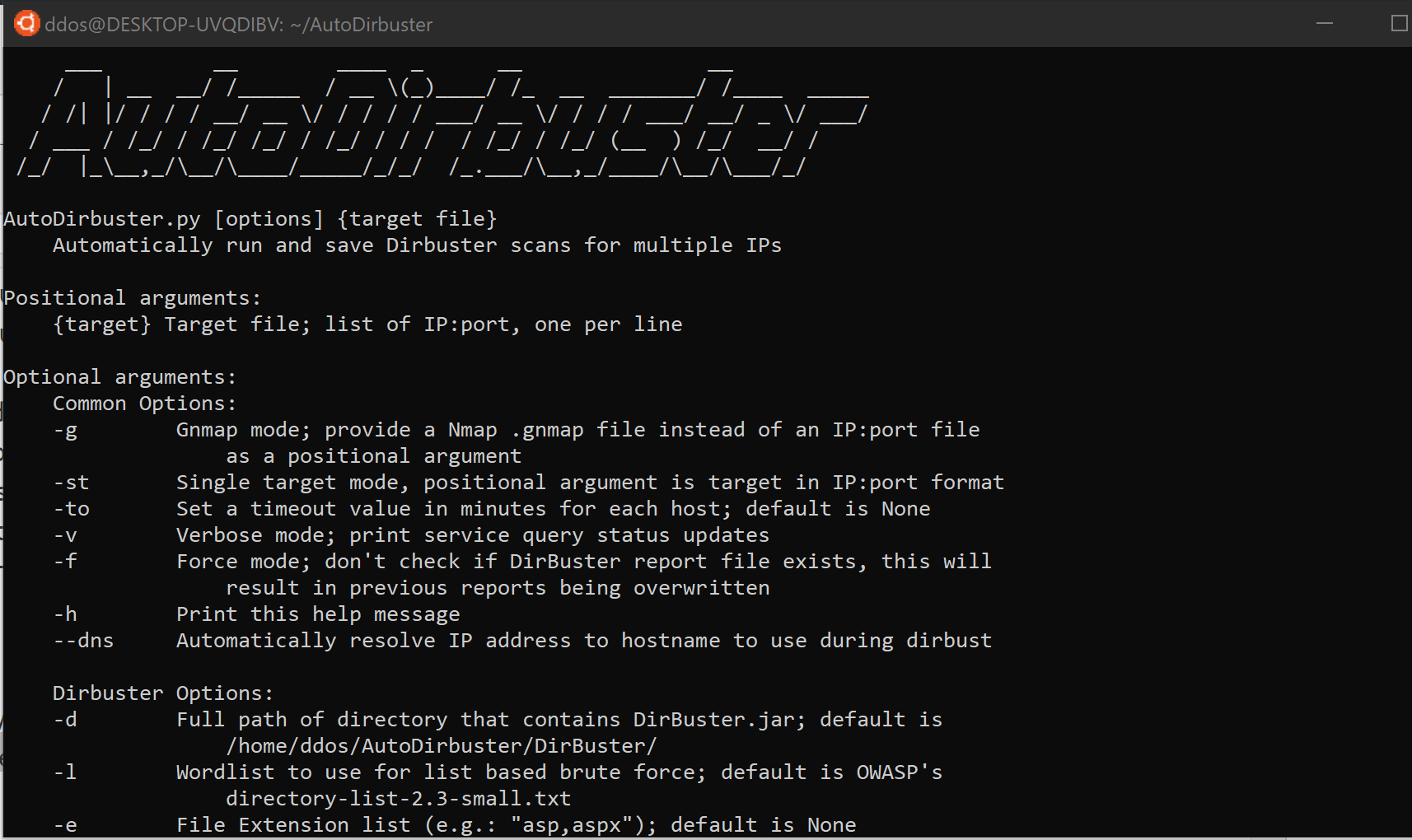 AutoDirbuster: Automatically run and save Dirbuster scans for multiple IPs
