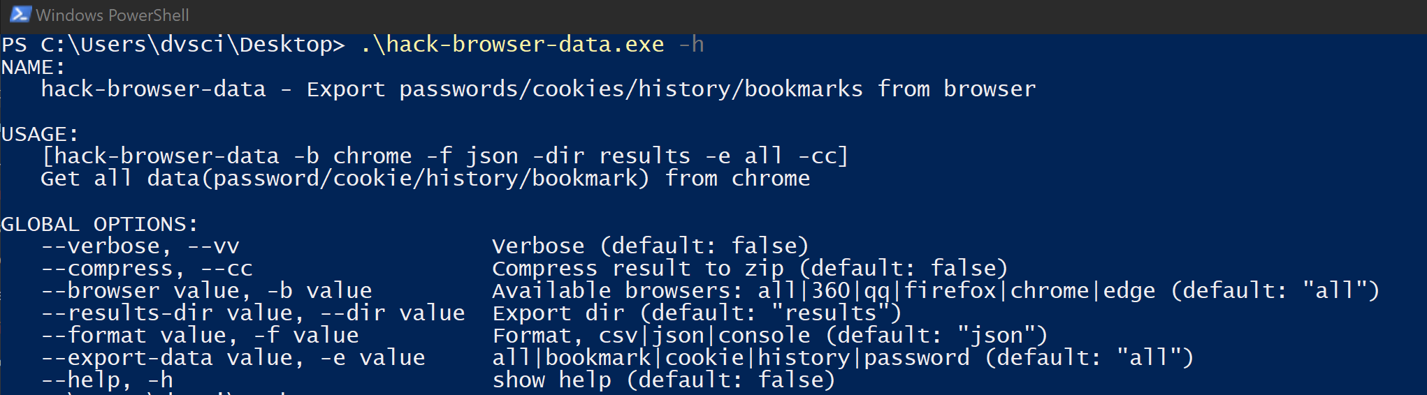 HackBrowserData: Decrypt passwords/cookies/history/bookmarks from the browser