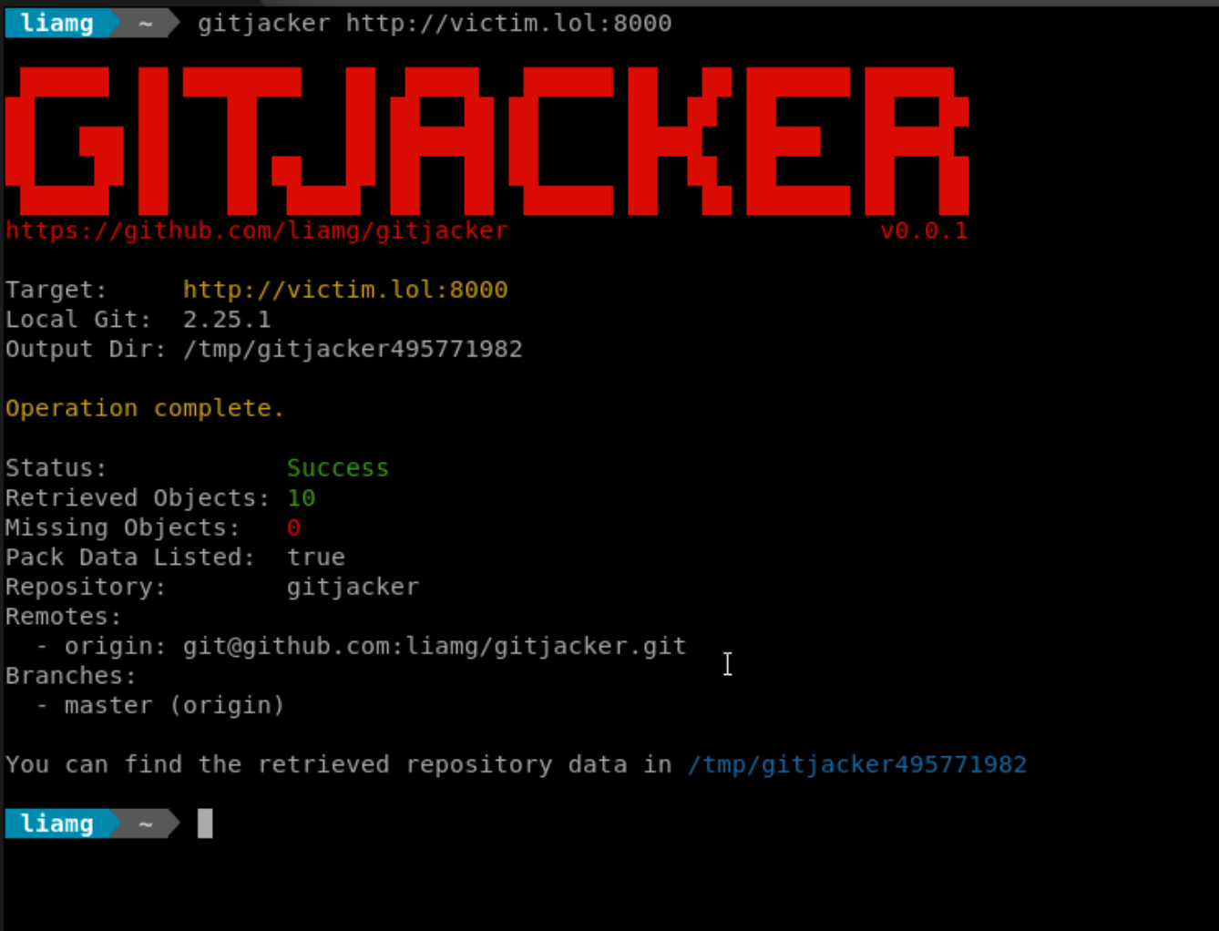 gitjacker: Leak git repositories from misconfigured websites
