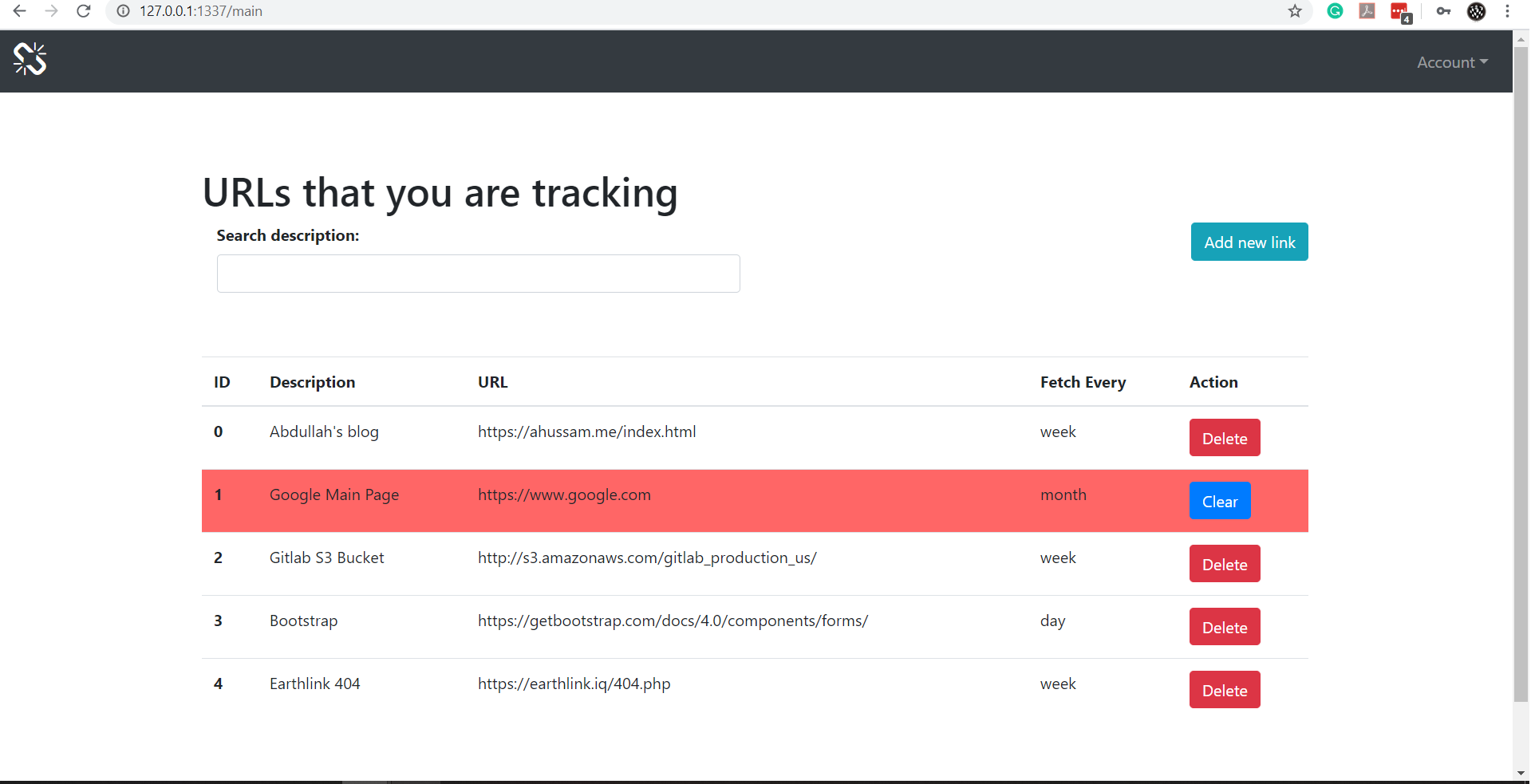 url tracker: checks the content of web pages in different periods