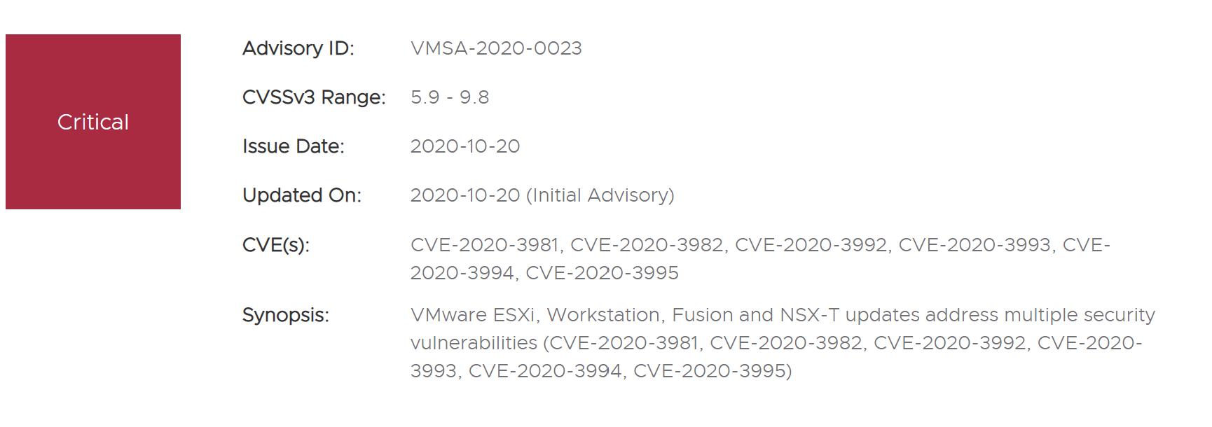 CVE-2020-3992: VMWARE ESXI Remote Code Execution Vulnerability Alert
