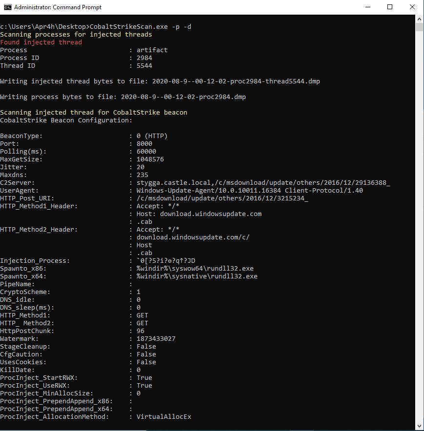 CobaltStrikeScan v1.0.1 releases: Scan files or process memory for Cobalt Strike beacons