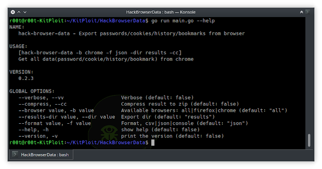 HackBrowserData – Decrypt Passwords/Cookies/History/Bookmarks From The Browser