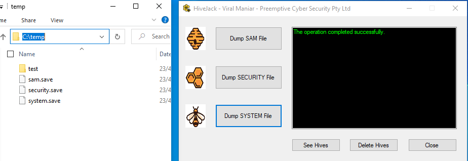 HiveJack: dump Windows credentials from an already-compromised host