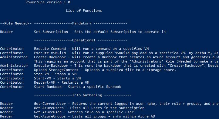 PowerZure: PowerShell framework to assess Azure security