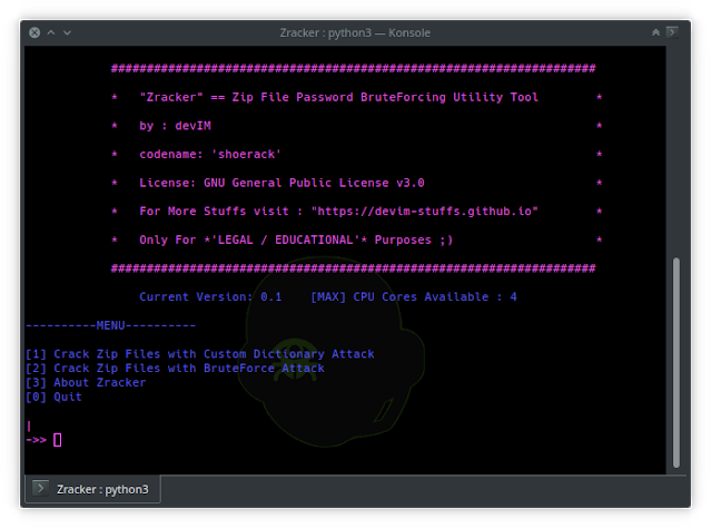 Zracker - Zip File Password BruteForcing Utility Tool based on CPU-Power
