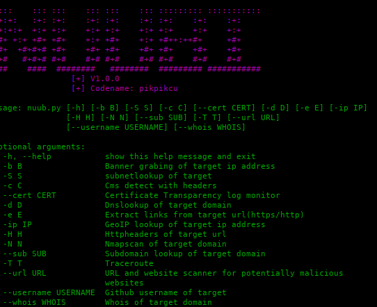nuubi: Recon Tools, Scanners and tools for penetration testing