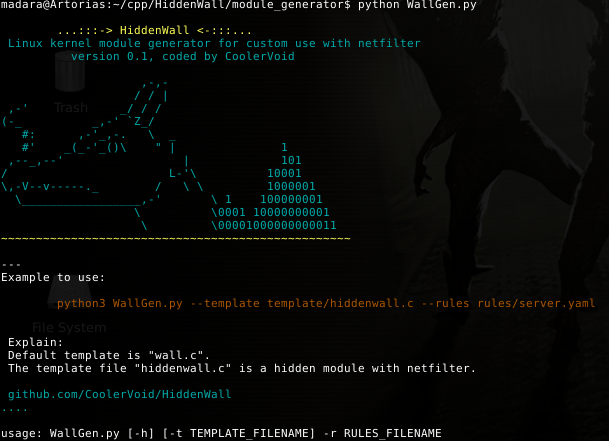 HiddenWall: generate a Linux kernel module for custom rules with Netfilter hooking