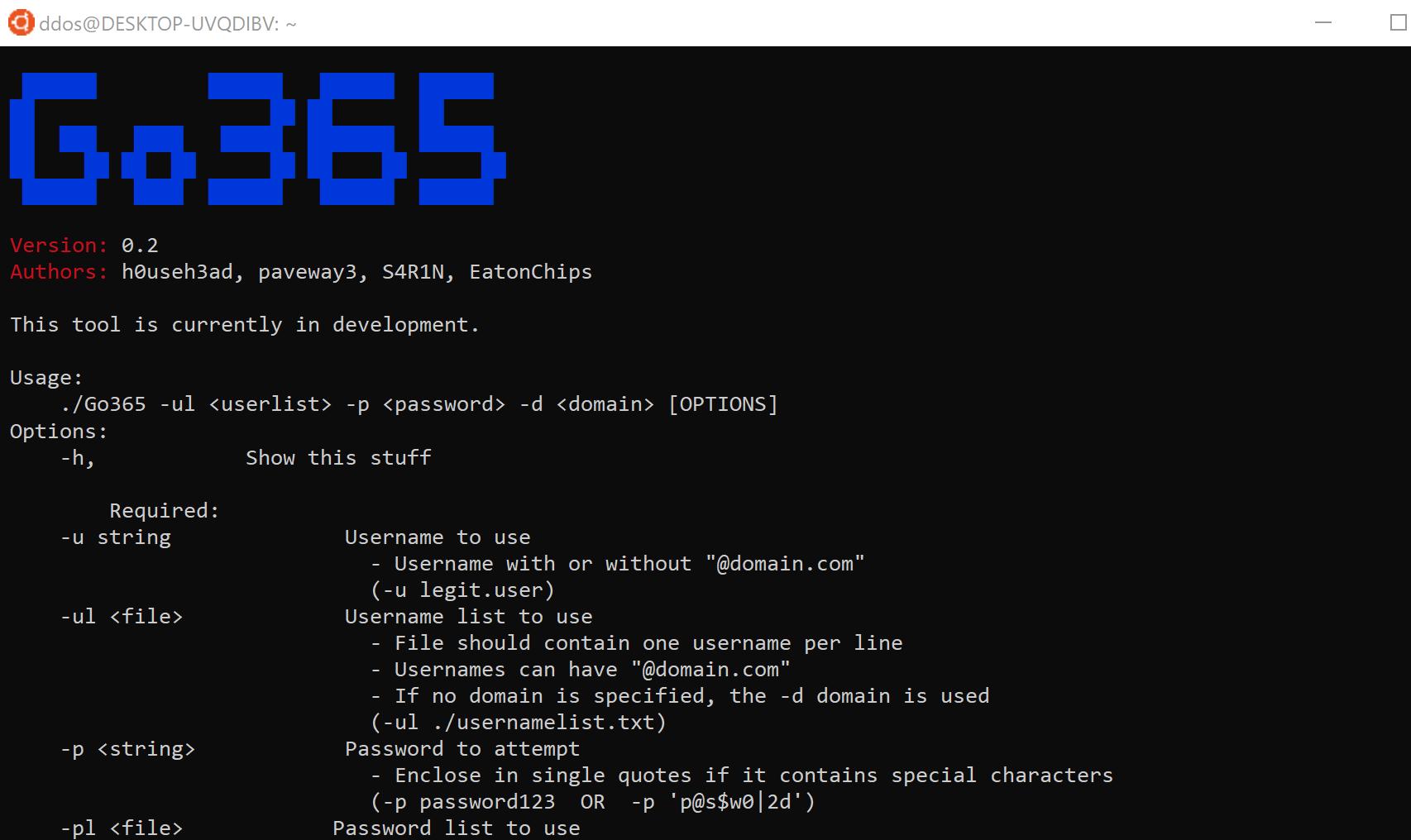 Go365: Office365 User Attack Tool