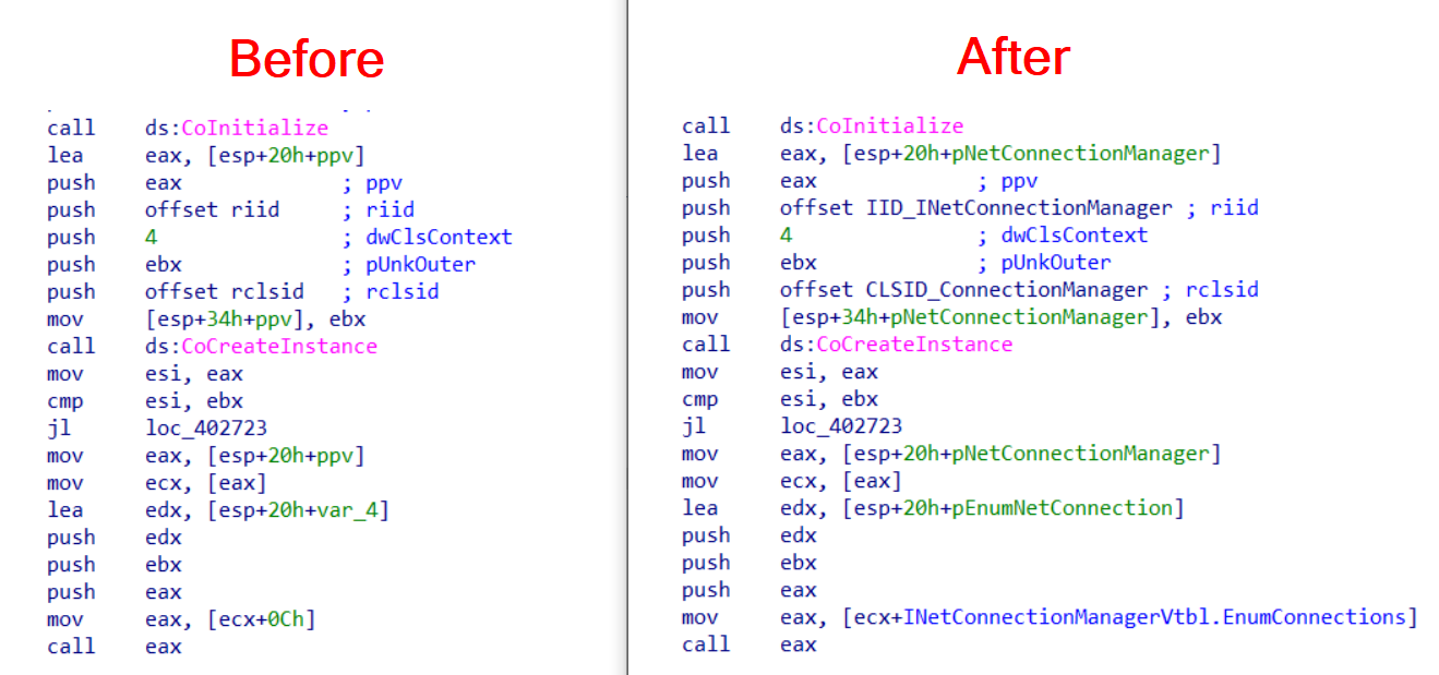 COM-Code-Helper: IDAPython Scripts help you to reconstruct Microsoft COM Code
