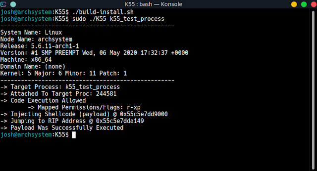 K55 – Linux X86_64 Process Injection Utility | Manipulate Processes With Customized Payloads