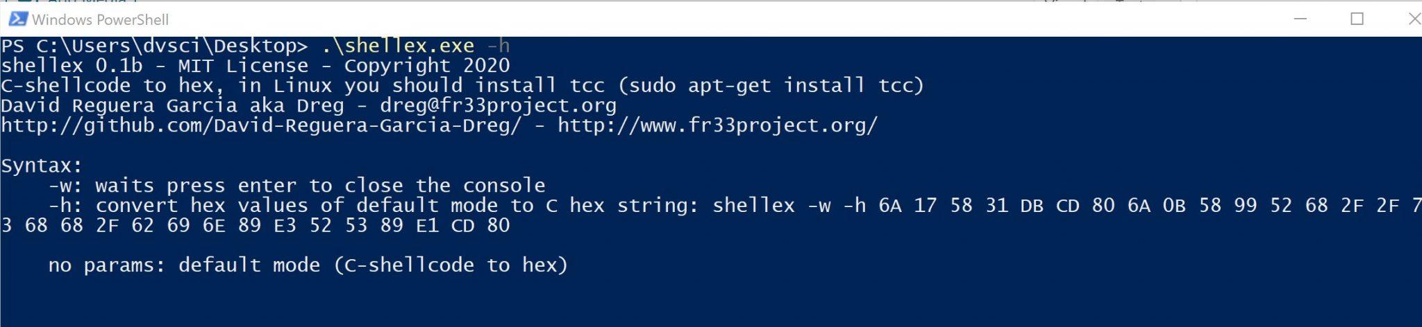 shellex: C-shellcode to hex converter