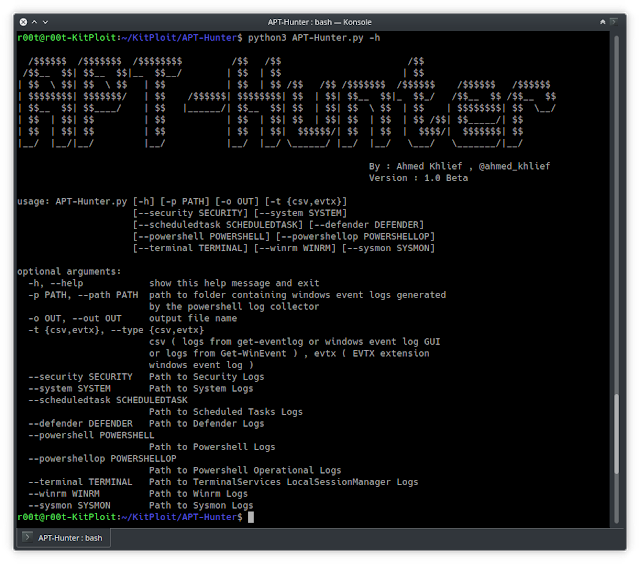 APT-Hunter - Threat Hunting Tool For Windows Event Logs Which Made By Purple Team Mindset To Provide Detect APT Movements Hidden In The Sea Of Windows Event Logs To Decrease The Time To    Uncover Suspicious Activity