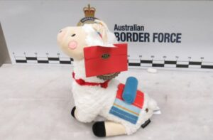 A picture of Australian border cops know when there is something suspicious about a stuffed llama.