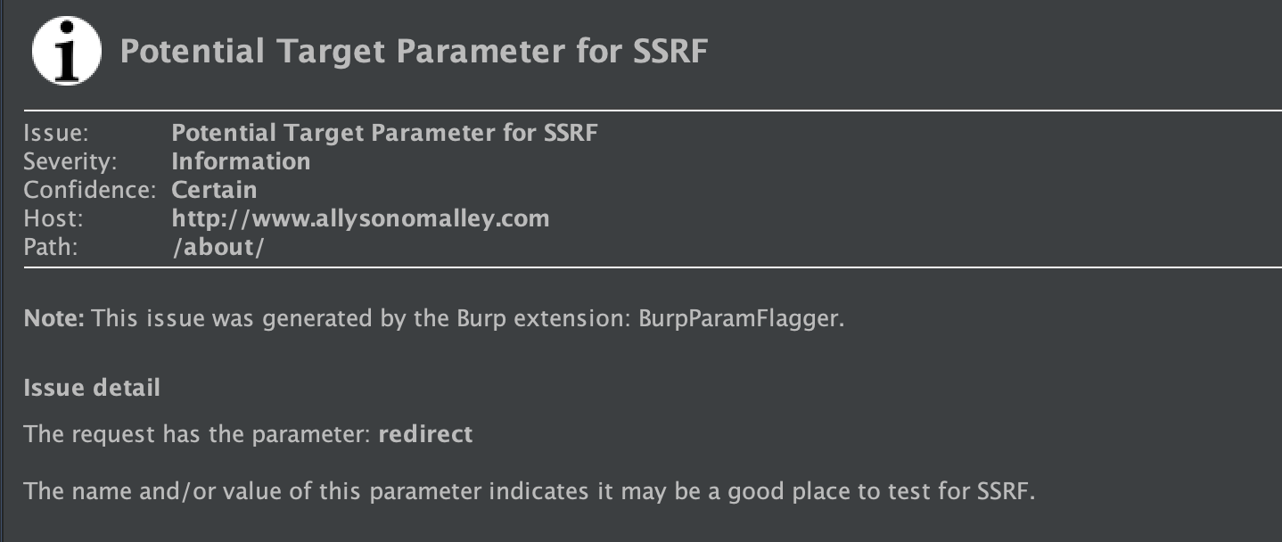 BurpParamFlagger: indicate a possible insertion point for SSRF or LFI