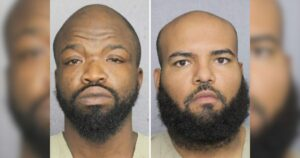A picture of Luis Miguel Teixeira-Spencer and Olatunji Dawodu in their mugshots