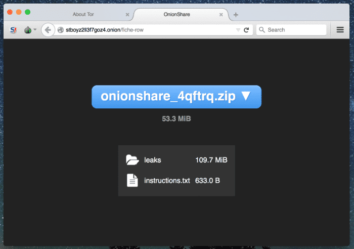onionshare v2.3.1 releases: Securely and anonymously share file