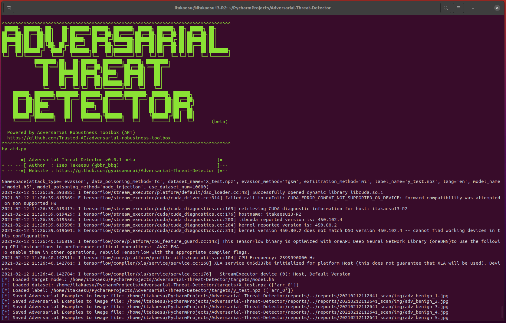 Adversarial Threat Detector: detects vulnerabilities in deep learning-based classifiers