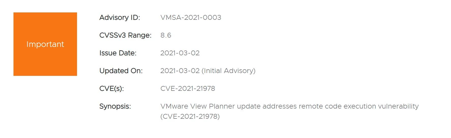 CVE-2021-21978: VMware View Planner Remote Code Execution Vulnerability Alert