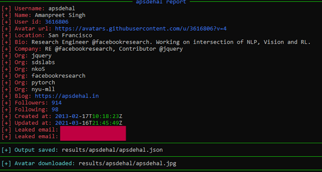 Gitrecon - OSINT Tool To Get Information From A Github Profile And Find GitHub User'S Email Addresses Leaked On Commits