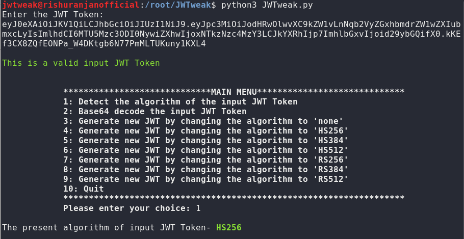 JWTweak: Detects the algorithm of input JWT Token