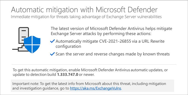 Microsoft has automatically mitigated Exchange vulnerabilities through Defender Antivirus
