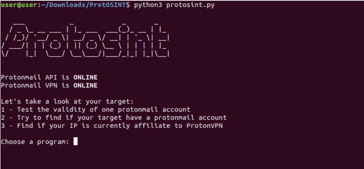 ProtOSINT: investigate Protonmail accounts and ProtonVPN IP addresses