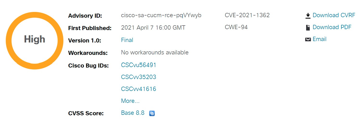 CVE-2021-1362: Cisco Unified Communications Products Remote Code Execution Vulnerability Alert