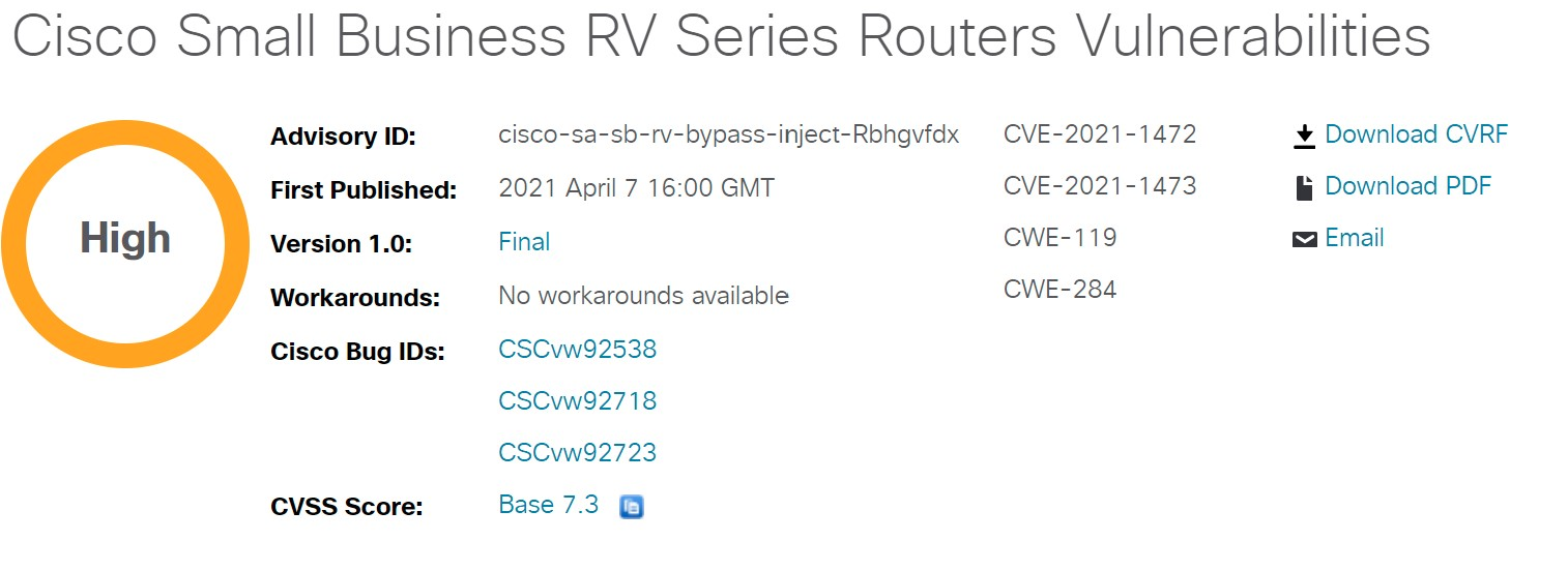Cisco Small Business RV Series Routers Vulnerabilities Alert