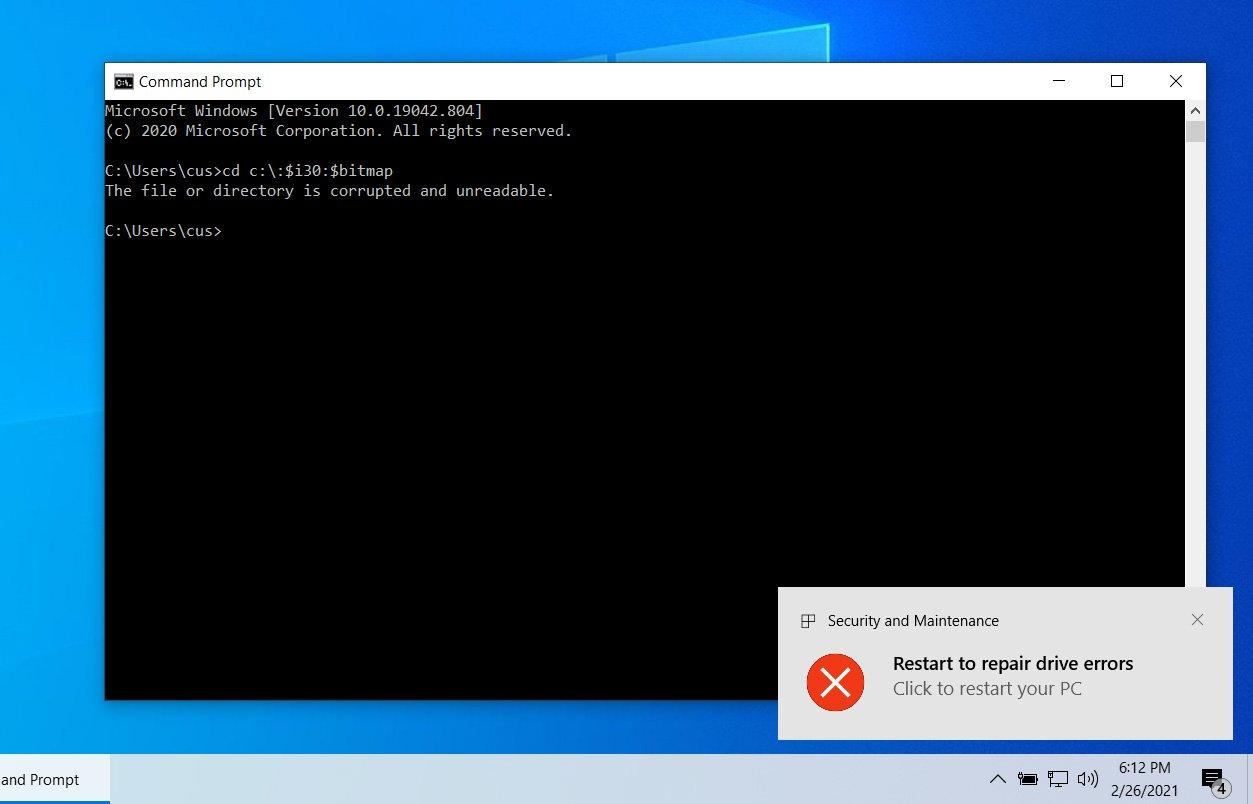 Microsoft fixes Windows NTFS Denial of Service Vulnerability (CVE-2021-28312)