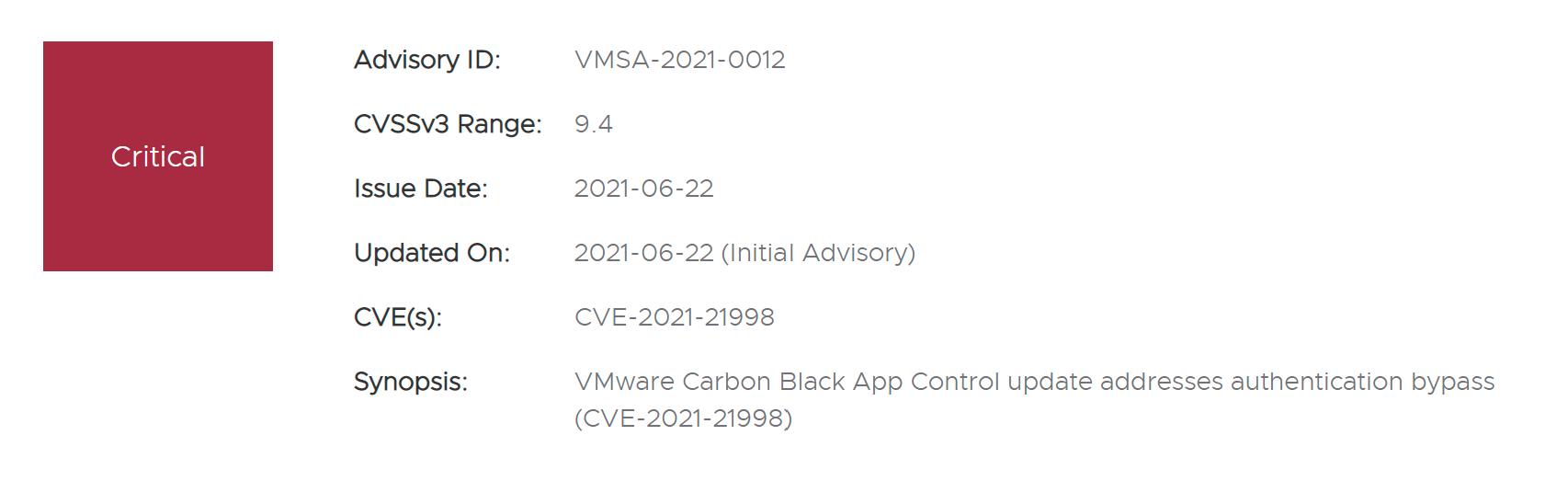 CVE-2021-21998: VMware Carbon Black App Control authentication bypass vulnerability alert