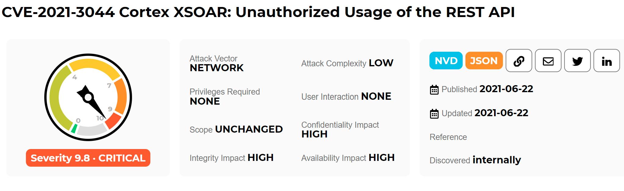 CVE-2021-3044: Palo Alto Networks Cortex XSOAR improper authorization vulnerability alert